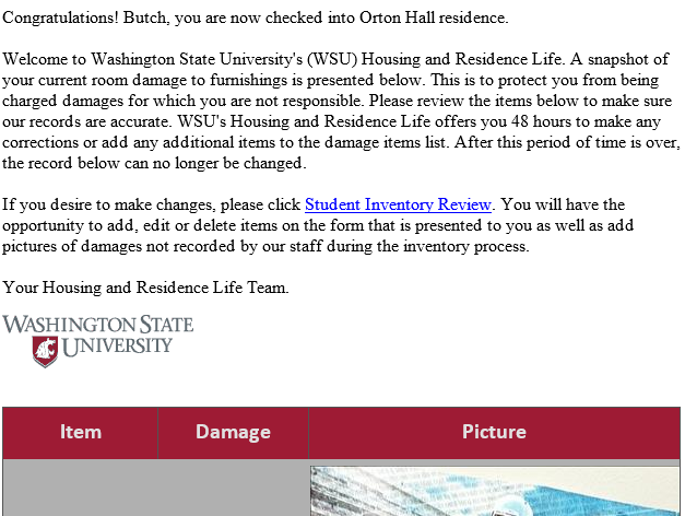 Residence hall check in letter