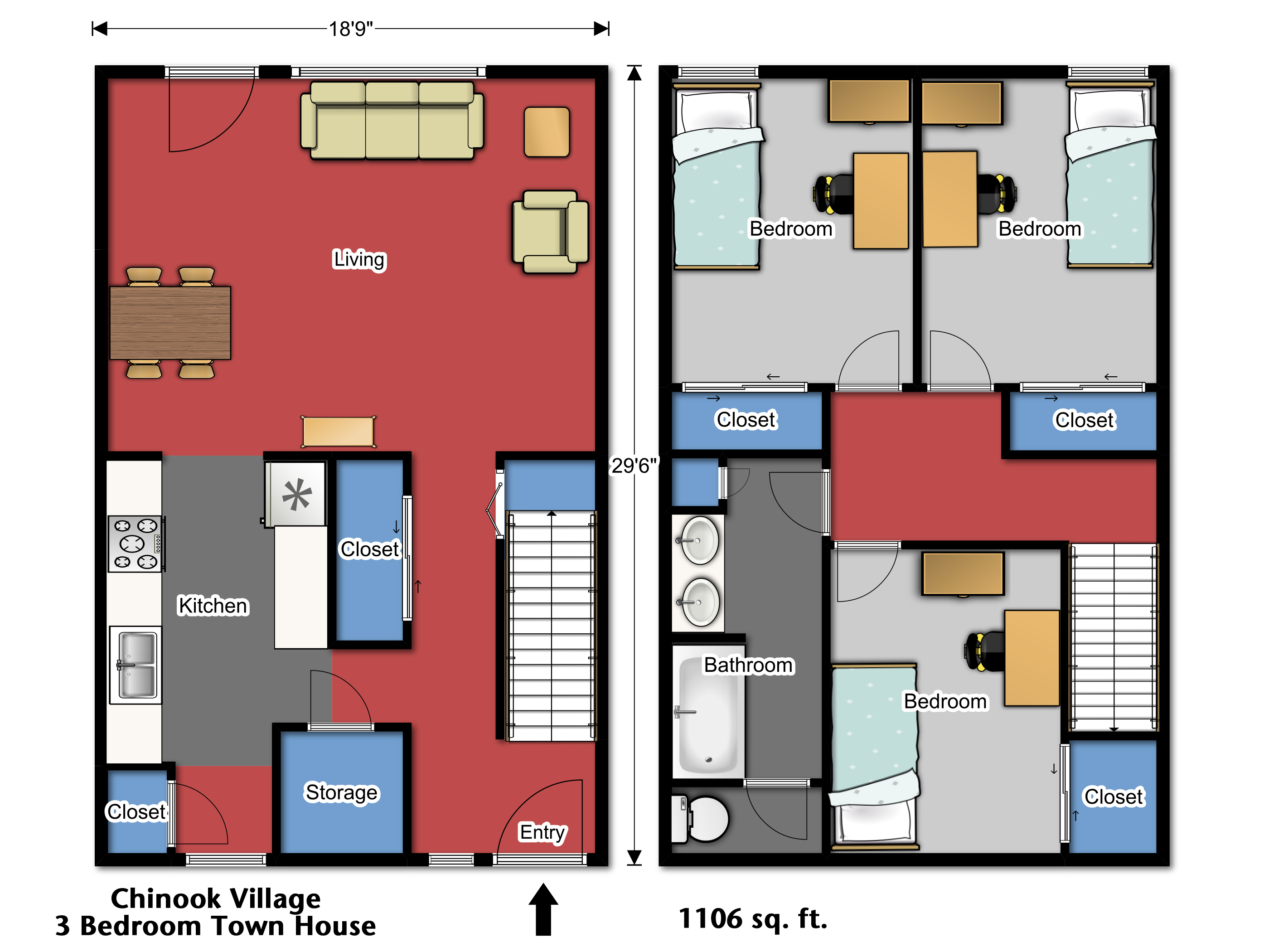 Chinook village at wsu for Townhouse layout 3 bedrooms